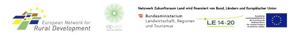 Logos Das Europäische Netzwerk für ländliche Entwicklung (ENRD), European Innovation Partnership 'Agricultural Productivity and Sustainability', Österreichisches Programm für ländliche Entwicklung 2014 - 2020 - Programmtext